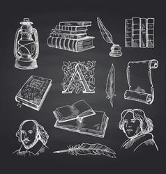 hand drawn theatre set on black chalkboard vector image