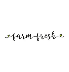 hand sketched farm fresh quote as banner or logo vector image