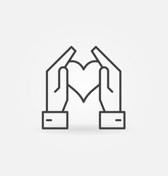 hands holding heart icon in thin line style vector image