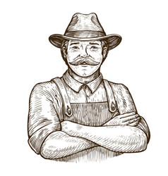happy farmer in the hat vintage sketch vector image