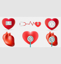 heart and high blood pressure concept set vector image