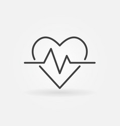 heartbeat icon heart rate concept outline vector image