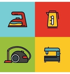 Household appliances color icons on background vector image