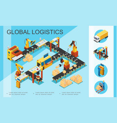 isometric logistics and warehouse concept vector image