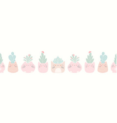 Kawaii cat plant pots with succulents seamless vector