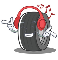 Listening music tire character cartoon style vector