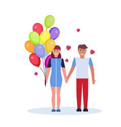 man holding hand woman with colorful air balloons vector image