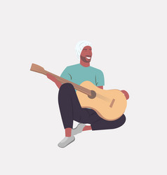 man playing guitar african american guitarist vector image