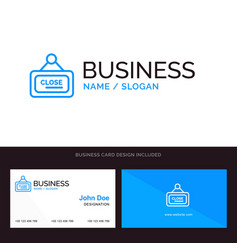 Marketing board sign close blue business logo and vector