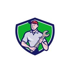 Mechanic Worker Standing Spanner Crest Cartoon vector