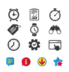 Mechanical clock time icons stopwatch timer vector