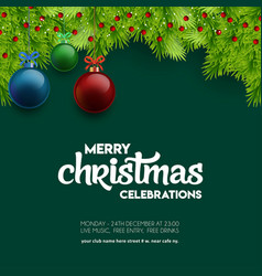 merry christmas celebration balls with bokeh vector image