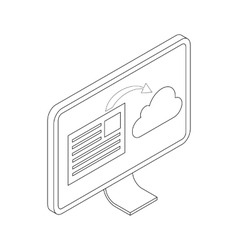 Monitor icon isometric 3d style vector image