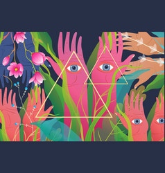 Mysterious spiritual esoteric hands and flowers vector