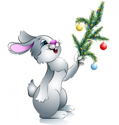 New years rabbit with branch vector