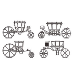 Outline set dormeuse chariot or royal carriage vector