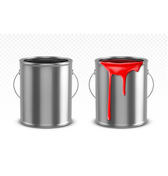 Paint can tin bucket with red dripping drops vector