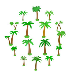palm tree icons set isometric 3d style vector image