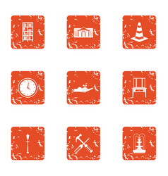 Patch icons set grunge style vector
