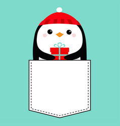 penguin head face holding gift box red hat vector image