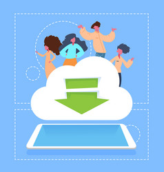 People on download cloud storage network tablet vector