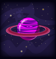 planet fantastic on a space background cartoon vector image