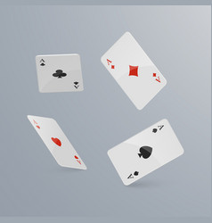playing cards falling on light background vector image