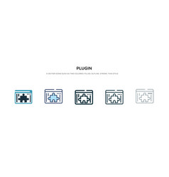 Plugin icon in different style two colored and vector