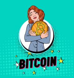 pop art businesswoman with big golden bitcoin coin vector image