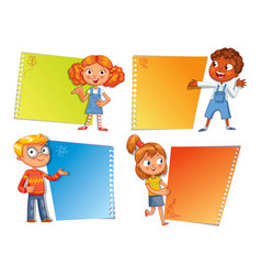 Pupils pointing at a poster vector