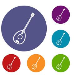 Saz turkish music instrument icons set vector