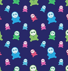 Seamless kids monsters - colorful background vector