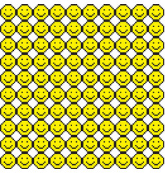 seamless pattern with smile icons pixel art vector image