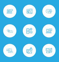 Seo icons line style set with portfolio photo vector