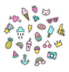 set bright cute pins vector image