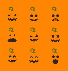 Set halloween pumpkin faces on orange vector
