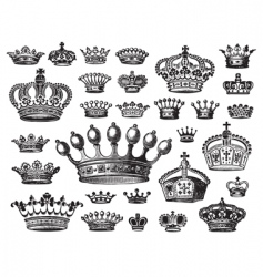 set of antique crown engravings vector image