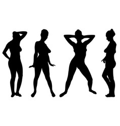Set of different women posing vector