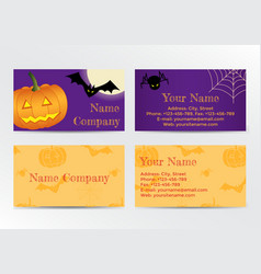 Set of Halloween Business Cards vector image