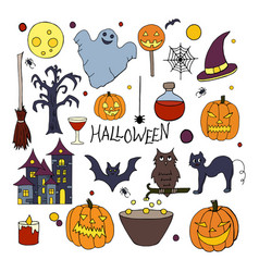set of hand drawn halloween elements on white back vector image