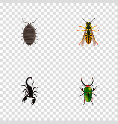 Set of insect realistic symbols with scorpion vector