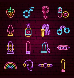 Sex toys neon icons vector