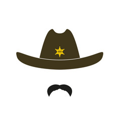 sheriff face icon isolated on white background vector image