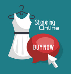 Shopping online with speech bubble vector