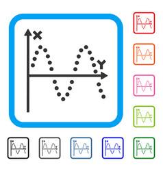 Sine plot framed icon vector