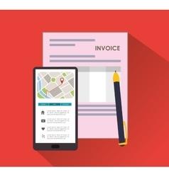 Smartphone pen document invoice vector