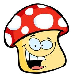 smiling mushroom cartoon vector image