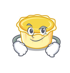 Smirking egg tart character cartoon vector