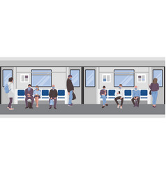 social distancing people inside a subway train vector image