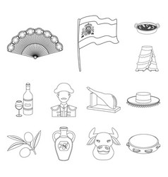 Spain country outline icons in set collection for vector